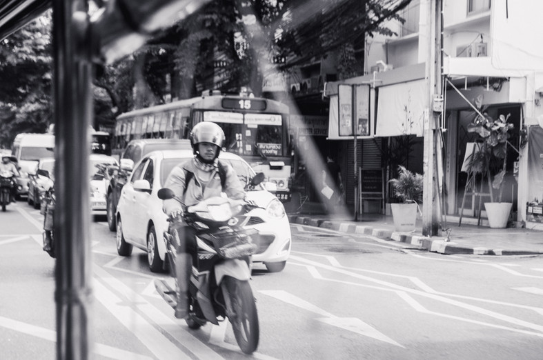Marla Manes Photography Motorcyclist in Bangkok Thailand
