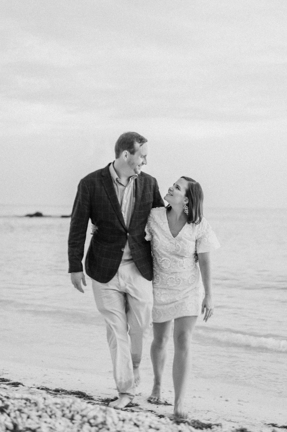 Artsy b&w photo of couple at their engagement photoshoot