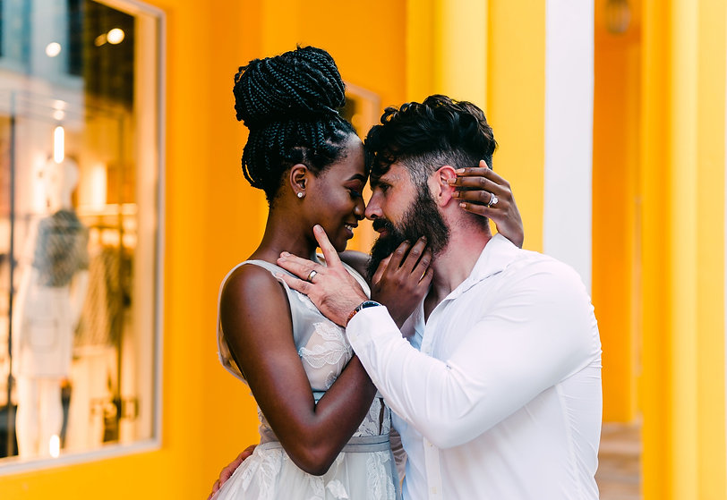 Washington Elopement Photographer | Photo of an interracial couple at their Miami Elopement | Miami Design District | Miami Elopement Photographer