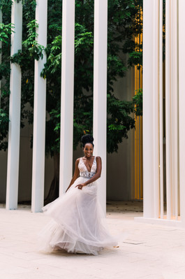 Black Bride posing for a Miami Elopement