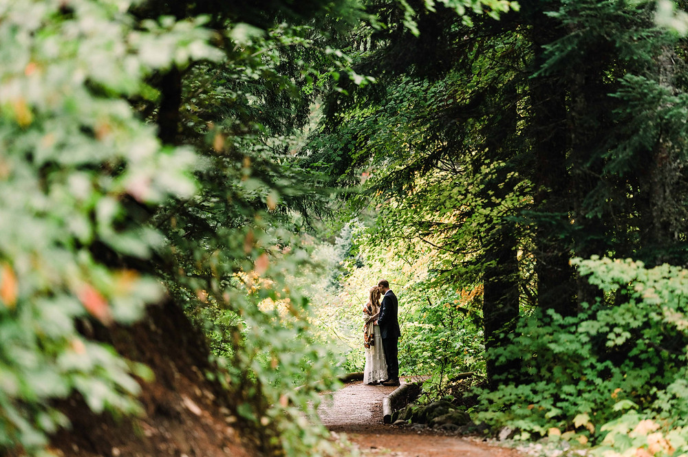 A man and woman touch foreheads in an intimate moment, framed by green trees and plants