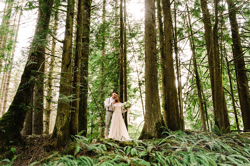 An interracial couple leans against each other, dressed in wedding attire between tall trees and greenery at their Washington elopement