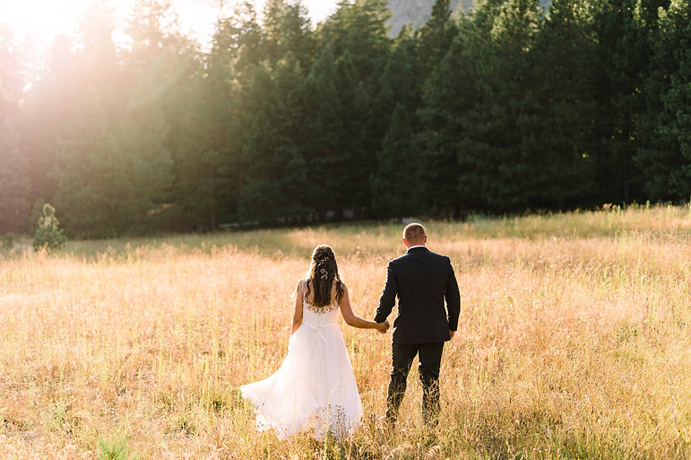 A man and woman hold hands in a grassy field on their wedding day, facing away from the camera towards a golden sunset.