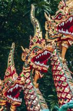 Thai dragons guarding Doi Suthep in Chiang Mai