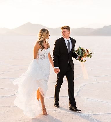 Utah Elopement at the Bonneville Salt Flats with bride and groom