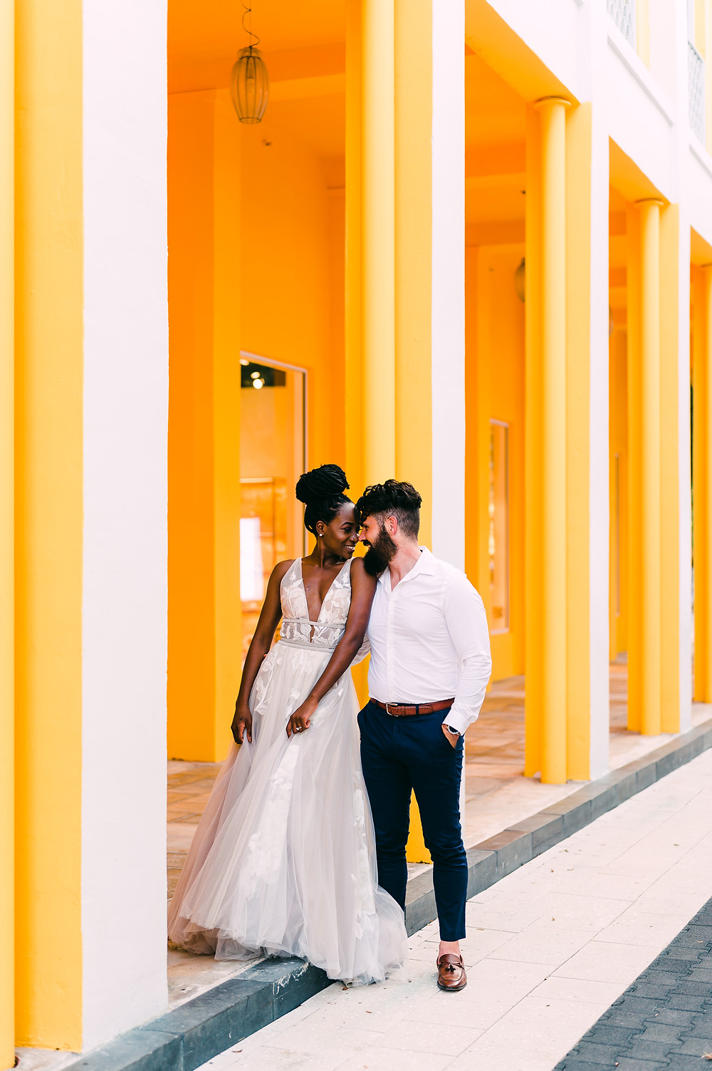 Interracial couple Miami Elopement Design District Miami
