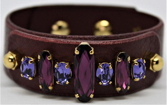Swarovski Bracelet - Merlot Cowhide