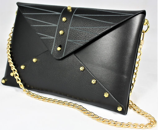 Etched Envelope Bag - Black Cowhide