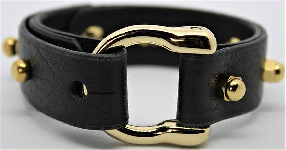 Horseshoe Bracelet - Black Cowhide