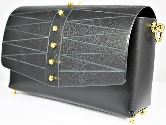 Etched Shoulder Bag - Black Cowhide