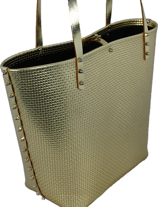 50% Off - Weave Embossed Tote - Yellow Gold