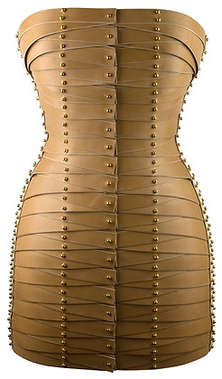 Laced Strapped Dress - Camel