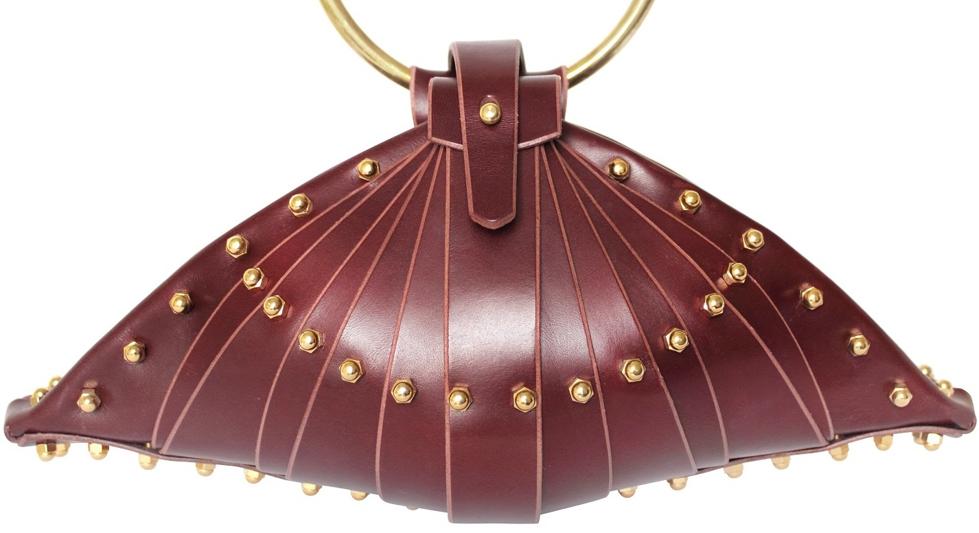 BURGUNDY SHELL BAG - FRONT VIEW