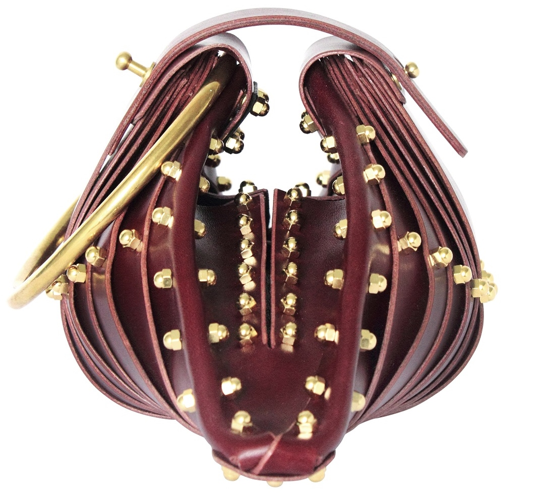 BURGUNDY SHELL BAG - SIDE VIEW