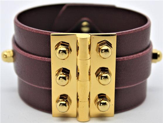 Twin Strap Hinge Bracelet - Merlot Cowhide & Gold