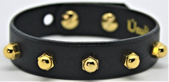 Slim Stud Bracelet - Black Cowhide