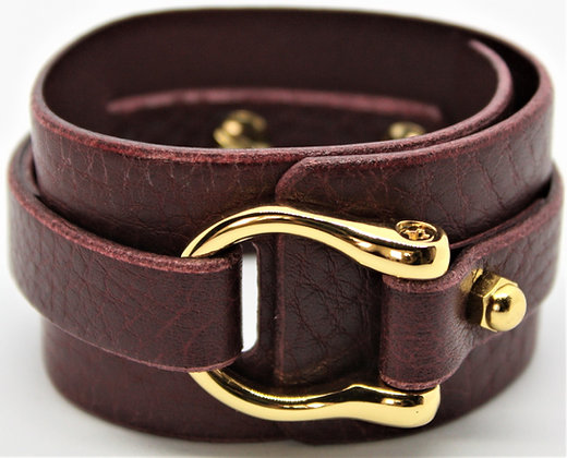 Wide D Cuff - Milled Merlot Cowhide