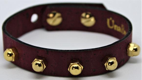 Vegan Slim Stud Bracelet - Merlot Cork Fabric
