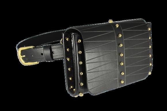 Etched Belt & Across-Body Bag - Black
