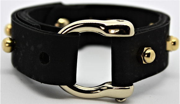 Vegan Horseshoe Bracelet - Black Cork Fabric