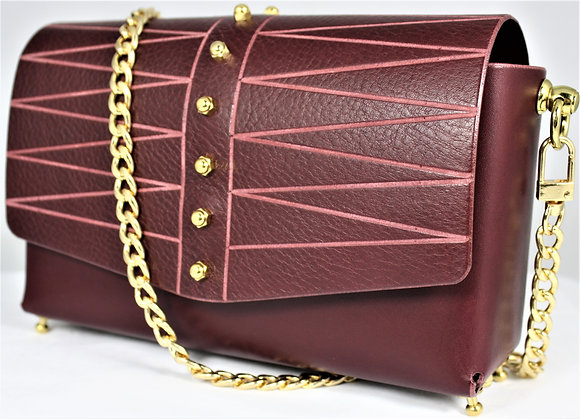 Etched Shoulder Bag - Merlot Cowhide