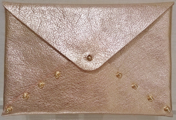 Metallic Pink Envelope Clutch