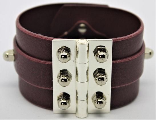 Twin Strap Hinge Bracelet - Merlot Cowhide & Silver
