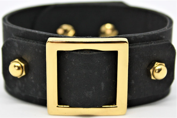 Vegan Square Slide Bracelet - Black Cork Fabric