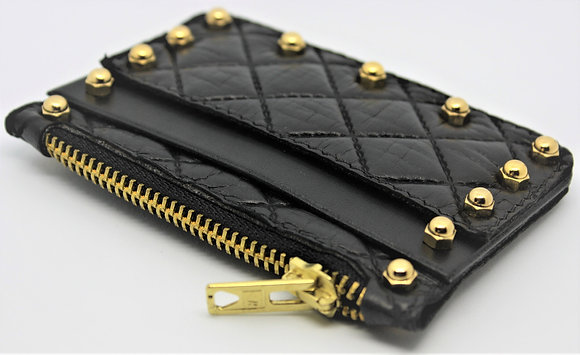 Quilted Card Purse - Black Lambskin & Cowhide