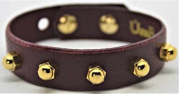 Slim Stud Bracelet - Merlot Cowhide