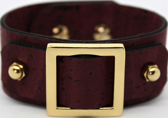 Vegan Square Slide Bracelet - Merlot Cork Fabric