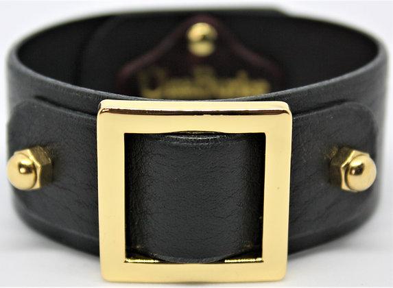 Square Slide Bracelet - Black Cowhide