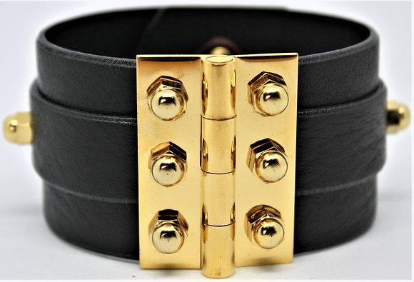 Twin Strap Hinge Bracelet - Black Cowhide & Gold