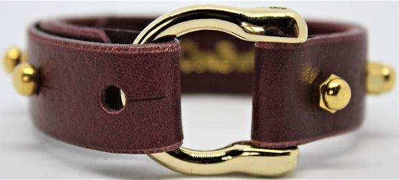 Horseshoe Bracelet - Merlot Cowhide