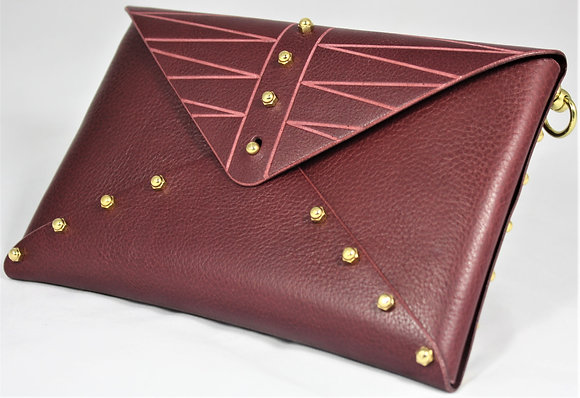 Etched Envelope Bag - Merlot Cowhide