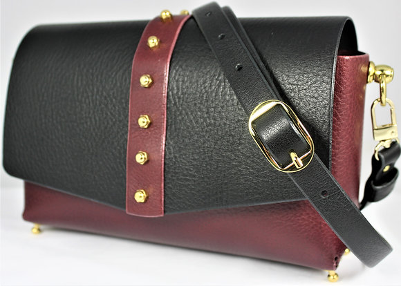 Classic Shoulder Bag - Merlot & Black Cowhide