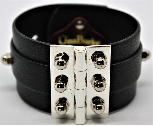 Twin Strap Hinge Bracelet - Black Cowhide & Silver