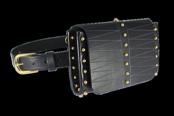 Etched Belt & Across-Body Bag - Navy