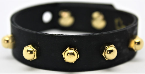 Vegan Slim Stud Bracelet - Black Cork Fabric