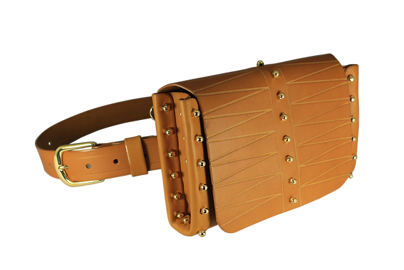 Etched Belt & Across-Body Bag - Mustard