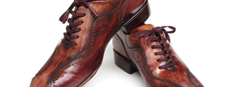Paul Parkman Handmade Lace-Up Casual Shoes for Men Brown