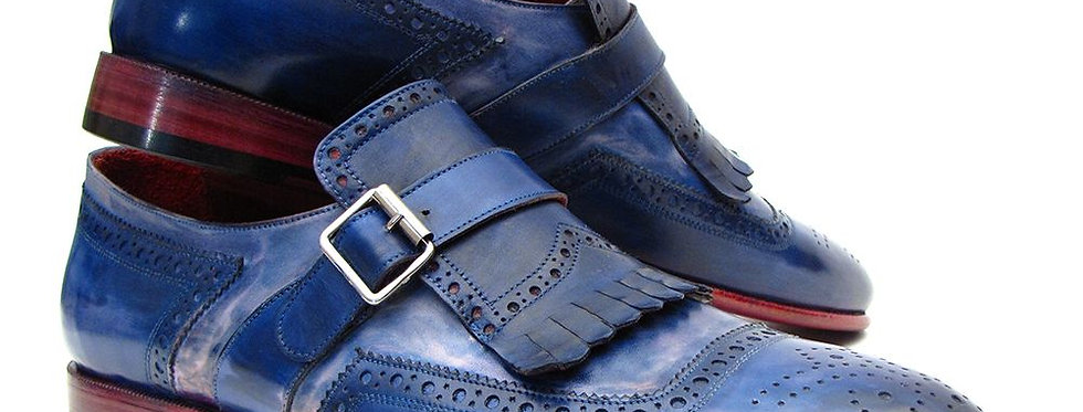 Paul Parkman Kiltie Monkstrap Shoes Dual Tone Blue Leather