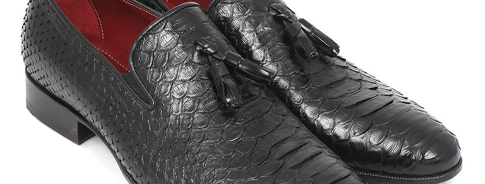 Paul Parkman Men's Black Genuine Python Tassel Loafers