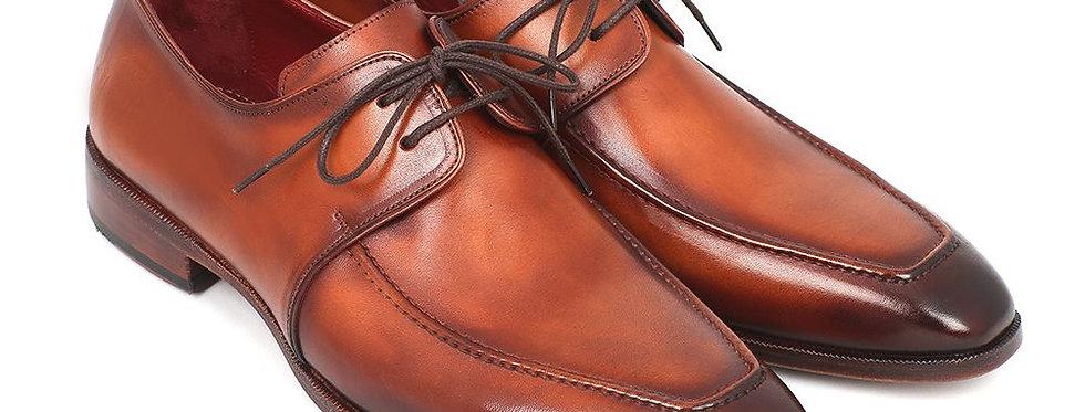 Paul Parkman Brown Leather Apron Derby Shoes for Men