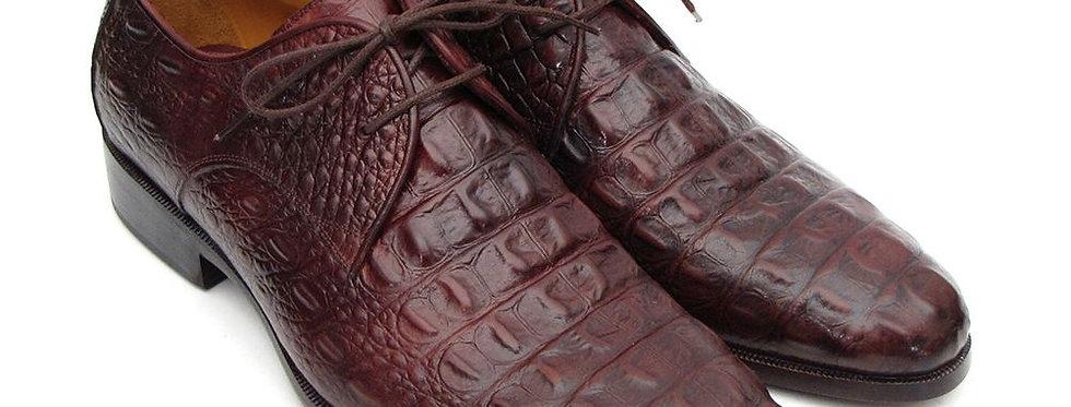 Paul Parkman Brown & Bordeaux Crocodile Embossed Calfskin Derby Shoes