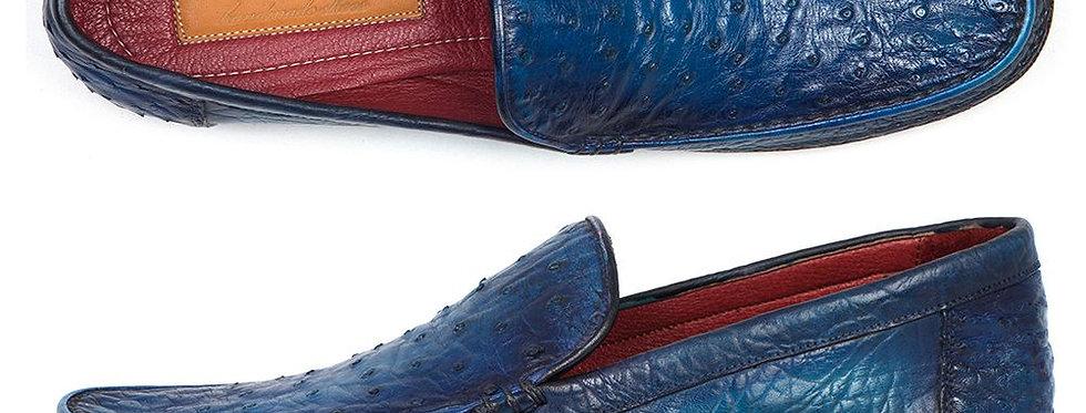 Paul Parkman Blue Genuine Ostrich Opanka Stitched Moccasins