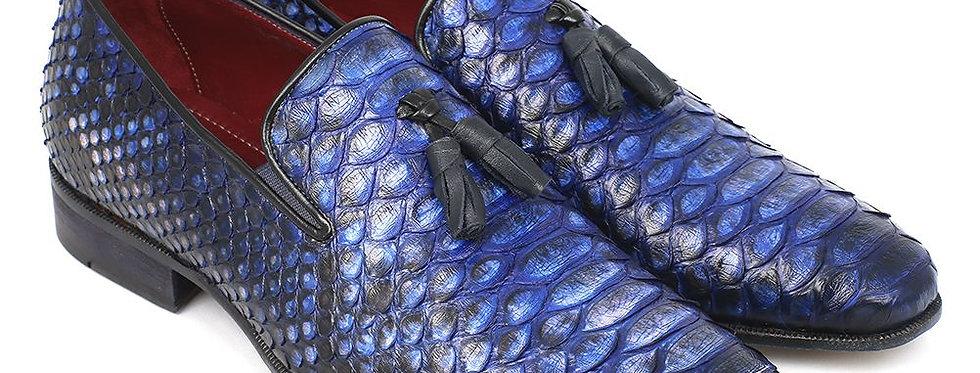 Paul Parkman Men's Blue Genuine Python Tassel Loafers