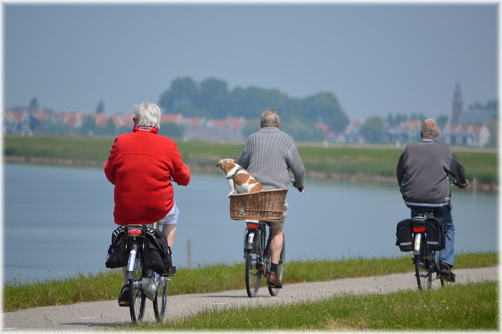 3 senior men riding a bike along the water