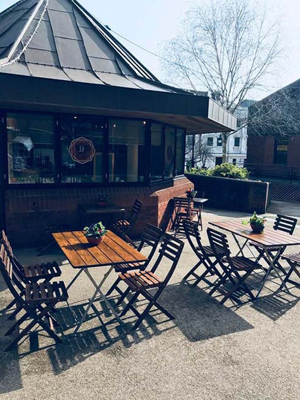 Outdoor seating at JJ's cafe, Redditch
