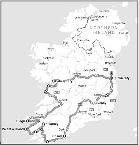 7 Day Private Tours of Ireland Tour Route